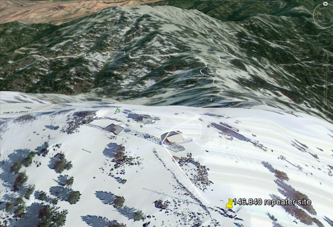 Google Earth view of the Shafer repeater site